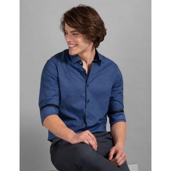 True Blue Men Casual Wear Blue Shirt