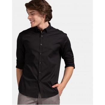 True Blue Men Casual Wear Black Shirt