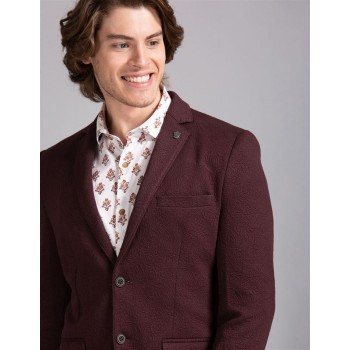 True Blue Men Party Wear Maroon Blazer