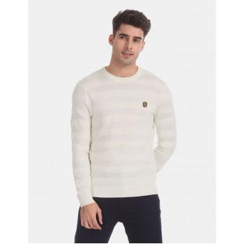 True Blue Men Casual Wear Off White Sweater