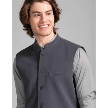 True Blue Men Party Wear Grey Nehru Jacket