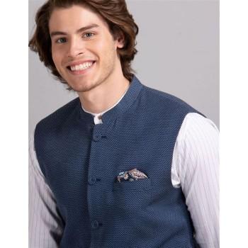 True Blue Men Party Wear Blue Nehru Jacket
