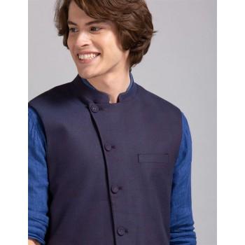 True Blue Men Party Wear Purple Nehru Jacket
