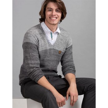 True Blue Men Casual Wear Grey Sweater