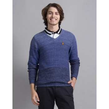 True Blue Men Casual Wear Blue Sweater