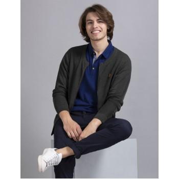 True Blue Men Casual Wear Dark Grey Sweater