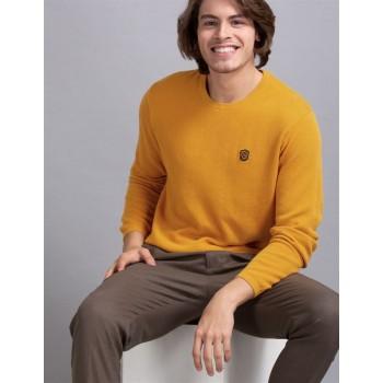 True Blue Men Casual Wear Yellow Sweater