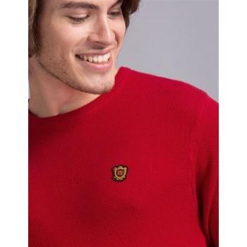 True Blue Men Casual Wear Red Sweater