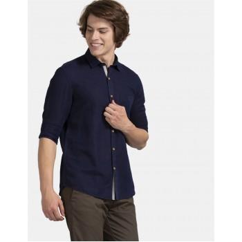 True Blue Men Casual Wear Navy Blue Shirt