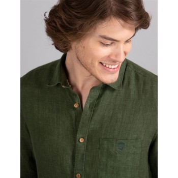 True Blue Men Casual Wear Dark Green  Shirt