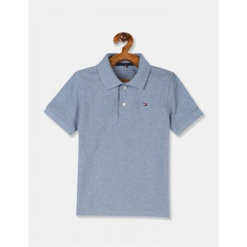 Tommy Hilfiger Boys Blue Short Sleeve Heathered Polo Shirt