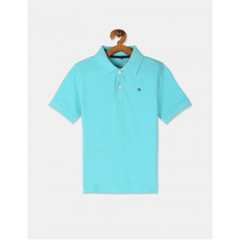 Tommy Hilfiger Boys Blue Heathered Pique Polo Shirt