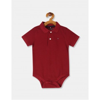 Tommy Hilfiger Boys Red Polo Collar Solid Bodysuit