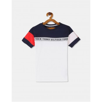 Tommy Hilfiger Boys White Short Sleeve Colour Blocked T-Shirt