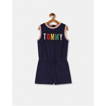 Tommy Hilfiger Girls Blue Embroidered Branding Knit Jumpsuit