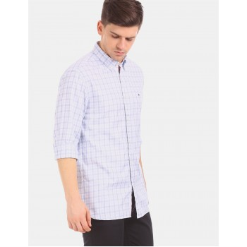 Tommy Hilfiger Men White  Checkered Casual Shirt