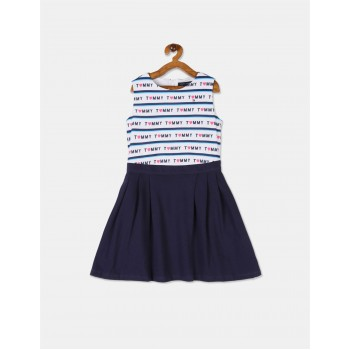 Tommy Hilfiger Girls Navy And White Printed Twofer Dress