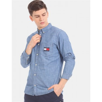 Tommy Hilfiger Men Blue Solid Casual Shirt