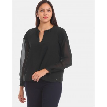 Tommy Hilfiger Women Black Solid Casual Top