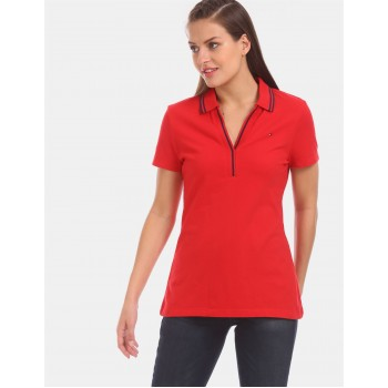 Tommy Hilfiger Women Red Solid Casual T-Shirt