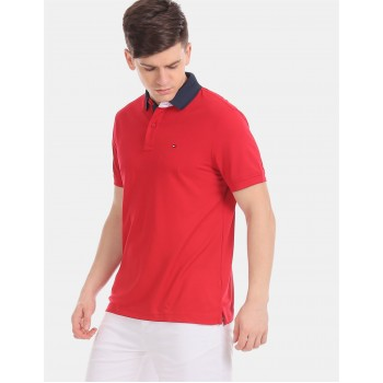 Tommy Hilfiger Men Red Solid Casual T-Shirt