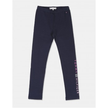 Tommy Hilfiger Girls Blue Brand Logo Knit Leggings