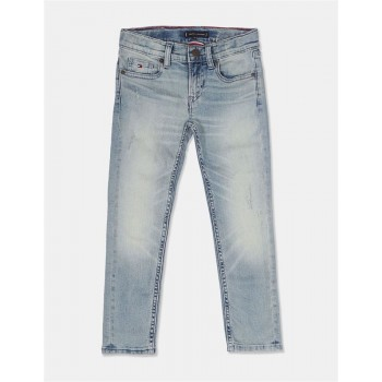 Tommy Hilfiger Boys Blue Scanton Slim Fit Stone Wash Jeans