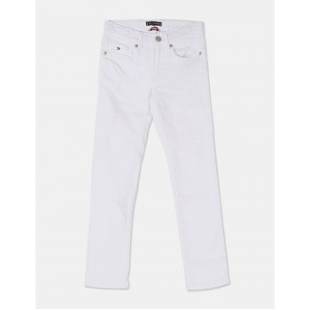 Tommy Hilfiger Boys White Mid Waist Cotton Jeans