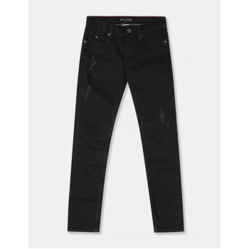 Tommy Hilfiger Boys Black Scanton Slim Fit Rinsed Jeans