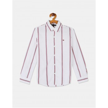 Tommy Hilfiger Boys White Long Sleeve Global Vertical Stripe Shirt
