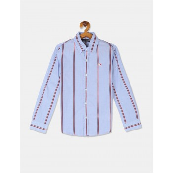Tommy Hilfiger Boys Blue Long Sleeve Global Vertical Stripe Shirt