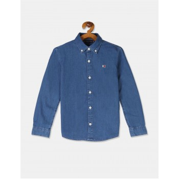 Tommy Hilfiger Boys Blue Slim Fit Denim Shirt