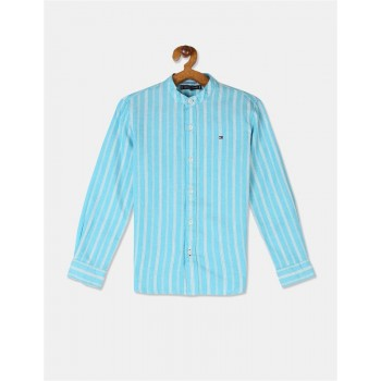 Tommy Hilfiger Boys Blue Slim Fit Striped Shirt