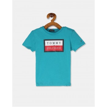 Tommy Hilfiger Boys Blue Short Sleeve Essential Logo T-Shirt