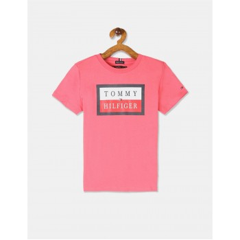 Tommy Hilfiger Boys Pink Short Sleeve Essential Logo T-Shirt