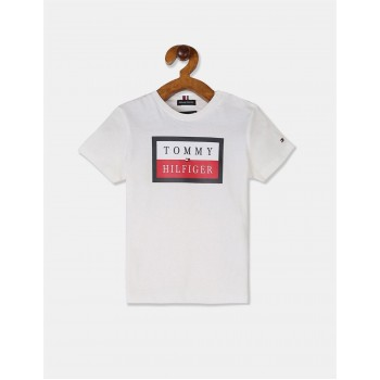 Tommy Hilfiger Boys White Essential Short Sleeve Logo T-Shirt