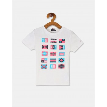 Tommy Hilfiger Boys White Short Sleeve Flags Graphic T-Shirt