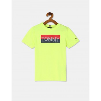 Tommy Hilfiger Boys Yellow Reflective Print Cotton T-Shirt