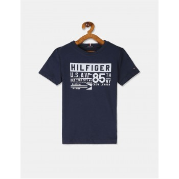 Tommy Hilfiger Boys Blue Short Sleeve Reflective Logo T-Shirt