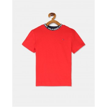 Tommy Hilfiger Boys Red Short Sleeve Printed Ribbed Crew Neck T-Shirt