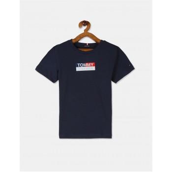 Tommy Hilfiger Boys Blue Crew Neck Brand Print T-Shirt