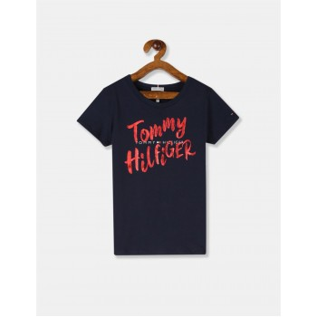 Tommy Hilfiger Girls Blue Brand Print Cotton T-Shirt