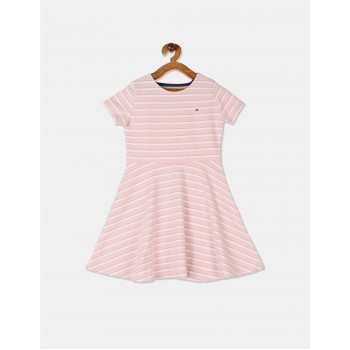Tommy Hilfiger Girls Pink Glitter Stripe Round Neck Dress