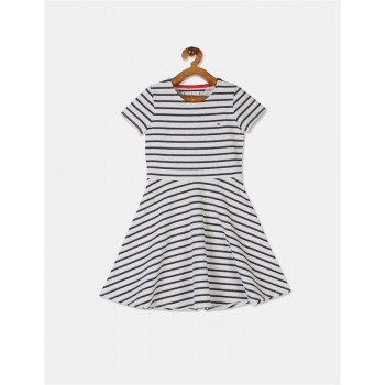 Tommy Hilfiger Girls Grey Glitter Stripe Knit Dress