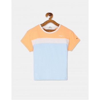 Tommy Hilfiger Girls Blue Short Sleeve Colour Block T-Shirt