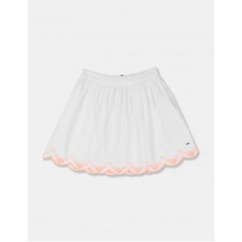 Tommy Hilfiger Girls White Scalloped Broderie Anglaise Hem Flared Skirt