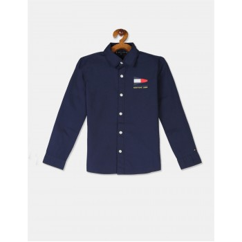 Tommy Hilfiger Boys Blue Slim Fit Badge Shirt