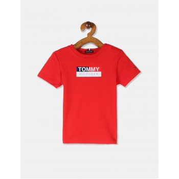Tommy Hilfiger Boys Red Short Sleeve Crew Neck Logo T-Shirt