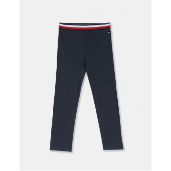 Tommy Hilfiger Girls Blue Essential Cotton Stretch Solid Leggings