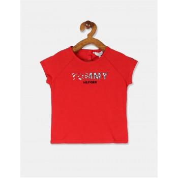 Tommy Hilfiger Girls Red Short Raglan Sleeve Organic Cotton Logo Top